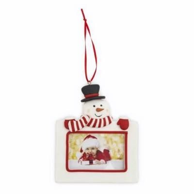 Picture of SNOWMAN CHRISTMAS DECORATION with Red Satin Ribbon Loop