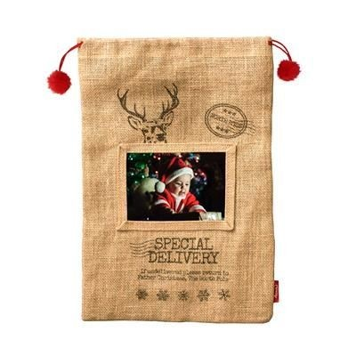 Picture of PRE PRINTED JUTE FATHER CHRISTMAS SANTA SACK with Red Drawstring Cord & Pom Poms