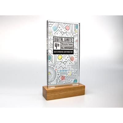 Picture of STANDARD SHAPE ACRYLIC AWARD with Plain Wood Base