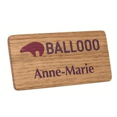 Picture of REAL WOOD PERSONALISED NAME BADGE PRINTED