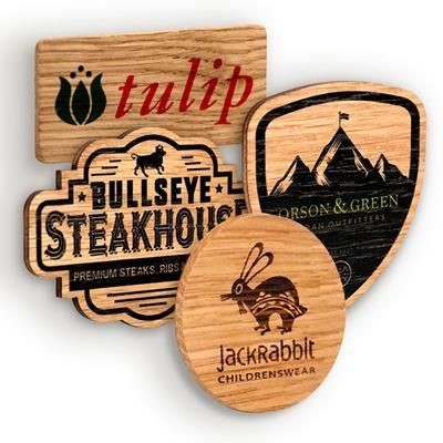 Picture of BESPOKE SHAPE WOOD PROMOTIONAL BADGE
