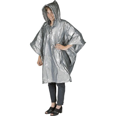 Picture of SILVER EMERGENCY RAIN PONCHO in Clear Transparent