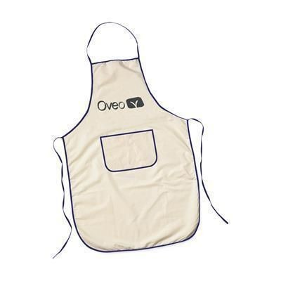 Picture of COTTON APRON with Pocket in Beige & Blue