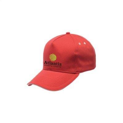 Picture of REGATTA STANDOUT AMSTON 5 PANEL CAP in Red & White