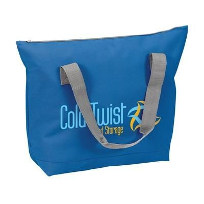 Picture of POLYESTER ZIP SHOPPER TOTE BAG in Dark Blue