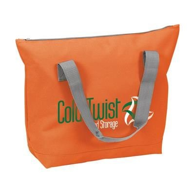 Picture of POLYESTER ZIP SHOPPER TOTE BAG in Orange