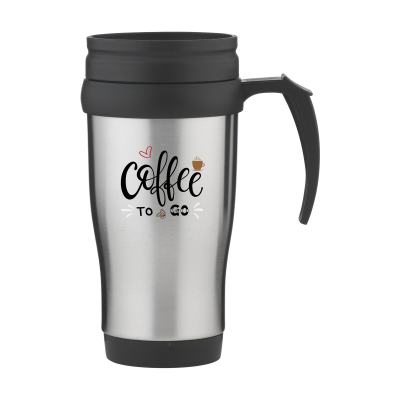 SILVER STAINLESS STEEL METAL TRAVEL MUG with Black Lid