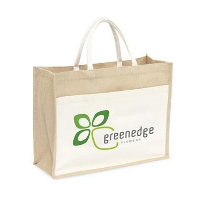 Picture of JUTE SHOPPER TOTE BAG in Ecru