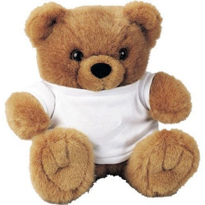 Picture of SOFT TOY BEAR with White Tee Shirt in Brown