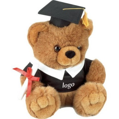 Picture of PROFESSOR SOFT TOY BEAR with Graduation Gown, Cap & Diploma in Brown