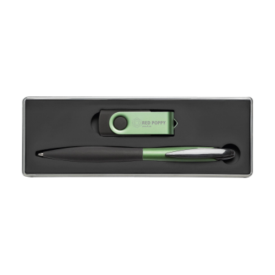 Picture of USB GIFTSET 4 GB FROM STOCK in Green