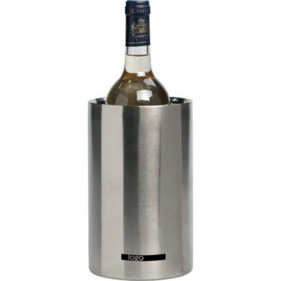Picture of COOL STEEL DOUBLE WALLED STAINLESS STEEL METAL WINE BOTTLE COOLER in Silver