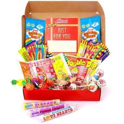 Picture of VEGAN AND VEGETARIAN PERSONALISED RETRO RED SWEETS HAMPER 690G