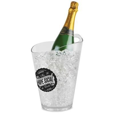 Picture of PLASTIC WINE & CHAMPAGNE BOTTLE COOLER BUCKET - FULL BUCKET CLEAR TRANSPARENT
