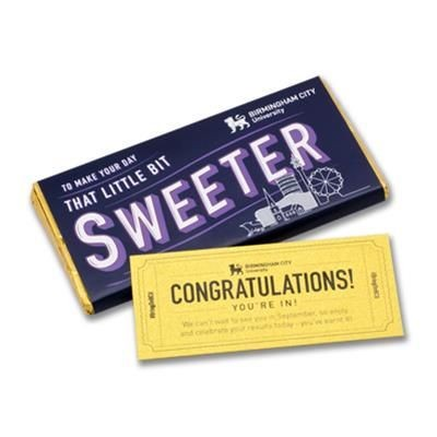Picture of GOLDEN TICKET PERSONALISED CHOCOLATE BAR in Milk or Dark High Quality Chocolate