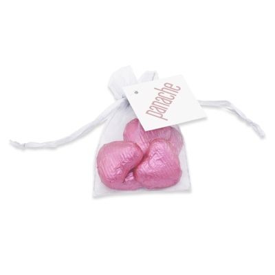 Picture of CHOCOLATE HEART ORGANZA GIFT BAG