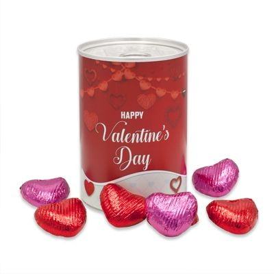 Picture of TIN OF VALENTINES CHOCOLATE HEARTS with Branded Wrapper