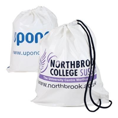 Picture of DUFFLE STYLE POLYTHENE PLASTIC CARRIER BAG in White