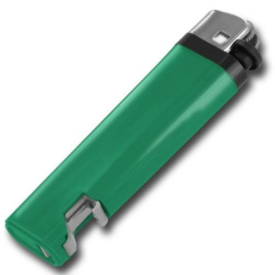 Picture of DISPOSABLE FLINT LIGHTER with Integral Bottle Opener in Green