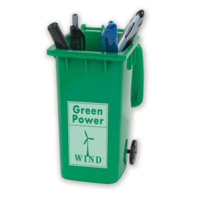 Picture of RECYCLED NOVELTY WHEELIE BIN PEN POT in Green