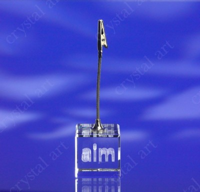 Picture of CRYSTAL GLASS BLOCK MEMO CLIP with 3D Laser Engraved Image & Logo in Centre