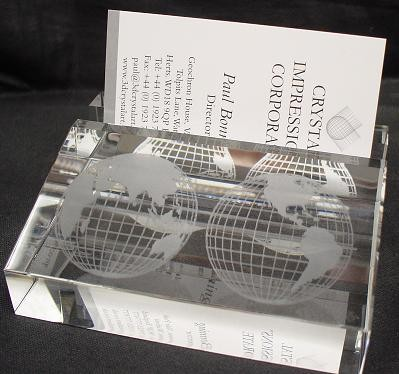 Picture of CRYSTAL BUSINESS CARD DESK HOLDER STAND with 3D Laser Engraved Image & Logo Set in Glass