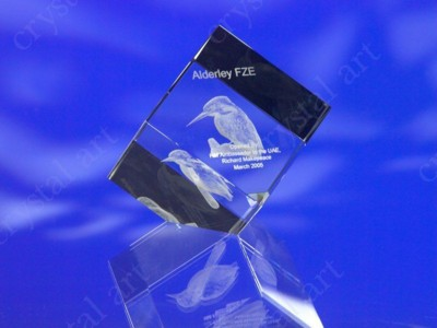Picture of CRYSTAL GLASS CUBE PAPERWEIGHT or AWARD TROPHY with 3D Laser Engraved Image & Logo in Centre