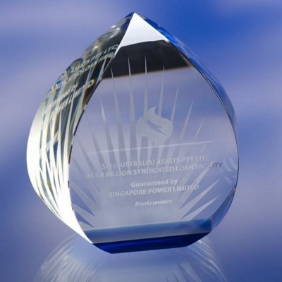 CLEAR TRANSPARENT GLASS AWARD TROPHY