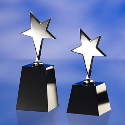 BLACK & SILVER STAR AWARD TROPHY  with Black Glass Base