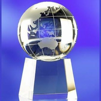 Picture of GLASS WORLD GLOBE on BASE