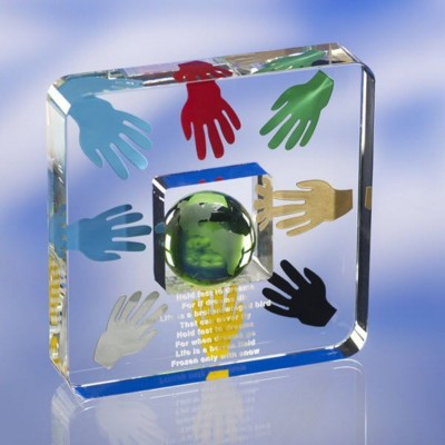 CLEAR TRANSPARENT GLASS AWARD TROPHY  with Colour Engraving