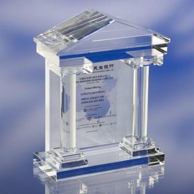 CLEAR TRANSPARENT GLASS AWARD TROPHY