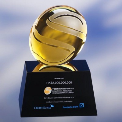 COLOUR OPTICAL GLASS AWARD TROPHY  with Surface Engraving