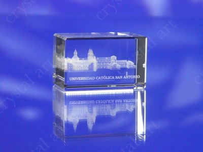 Picture of CRYSTAL GLASS RECTANGULAR BLOCK PAPERWEIGHT or AWARD TROPHY with 3D Laser Engraved Image & Logo in C
