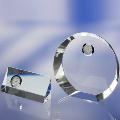 OPTICAL GLASS DESK TOP AWARD TROPHY  with Clock