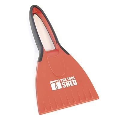 Picture of LAGAN ICE SCRAPER in Red Plastic Ice Scraper with Rubber Covered Handle for Grip When Using