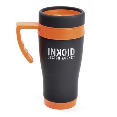 Picture of OREGON BLACK STAINLESS STEEL METAL TRAVEL MUG with Amber Trim