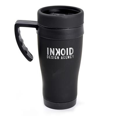 Picture of OREGON BLACK STAINLESS STEEL METAL TRAVEL MUG with Black Trim
