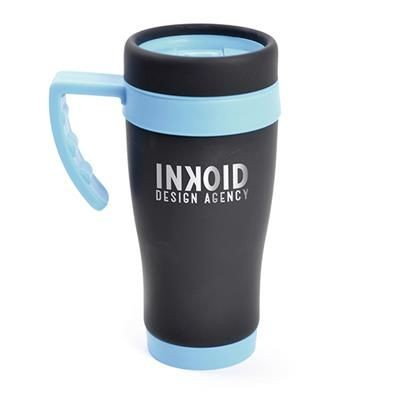 Picture of OREGON BLACK STAINLESS STEEL METAL TRAVEL MUG with Cyan Trim