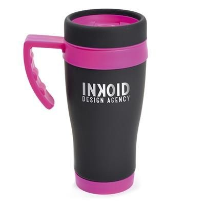 Picture of OREGON BLACK STAINLESS STEEL METAL TRAVEL MUG with Pink Trim