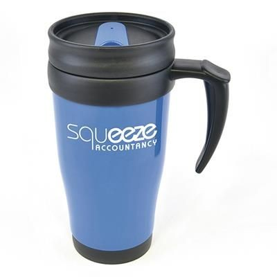 Picture of POLO PLUS PLASTIC TRAVEL MUG in Blue