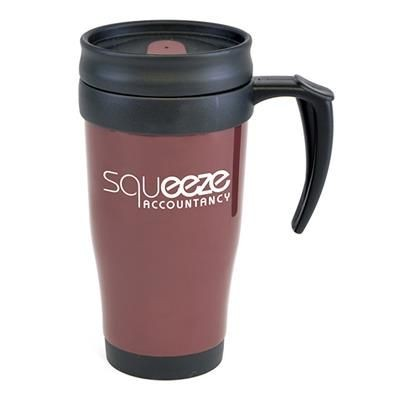 Picture of POLO PLUS PLASTIC TRAVEL MUG in Burgundy