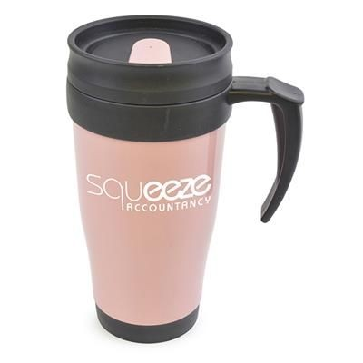 Picture of POLO PLUS PLASTIC TRAVEL MUG in Light Pink