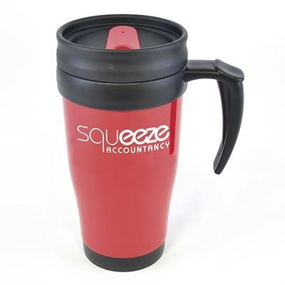 Picture of POLO PLUS PLASTIC TRAVEL MUG in Red