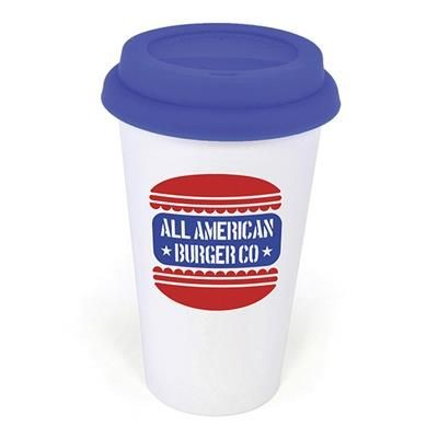 Picture of PLASTIC TAKE OUT MUG with Blue Lid