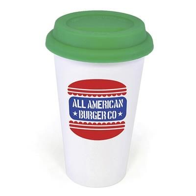 Picture of PLASTIC TAKE OUT MUG with Green Lid