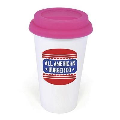 Picture of PLASTIC TAKE OUT MUG with Pink Lid