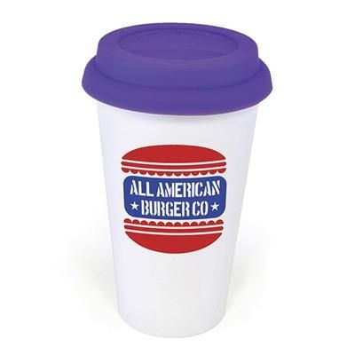Picture of PLASTIC TAKE OUT MUG with Purple Lid