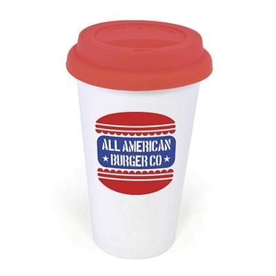 Picture of PLASTIC TAKE OUT MUG with Red Lid