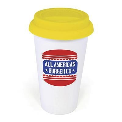 Picture of PLASTIC TAKE OUT MUG with Yellow Lid